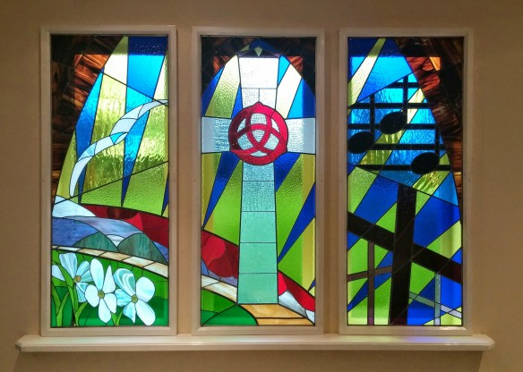 stained glass window in the Trinity sanctuary